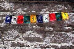 OM Mani Padme Hum Prayer Flags Stockbilder