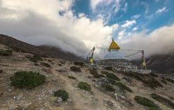 Om Mani Padme Hum. The sun sets near Dingboche, Everest Region, Nepal Royalty Free Stock Photos