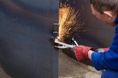 Om metaal te snijden stock foto's
