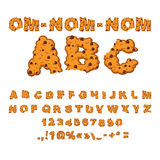 Om nom nom ABC. Cookies font. Biscuits with chocolate. Drops alphabet. Letters of cookie. Food lettering. Edible typography. Crackers and oatmeal pastry stock illustration