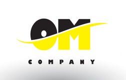 OM O M Black et logo jaune de lettre avec le bruissement Illustration Stock