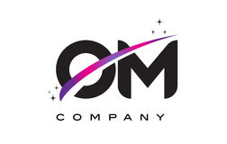 OM O M Black Letter Logo Design with Purple Magenta Swoosh. And Stars Royalty Free Stock Image