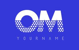 OM O M Dotted Letter Logo Design con el fondo azul Imagen de archivo