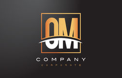 OM O M Golden Letter Logo Design with Gold Square and Swoosh. Stock Images