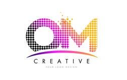 OM O M Letter Logo Design avec les points et le bruissement magenta Image stock