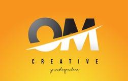 OM O M Letter Modern Logo Design avec le fond jaune et le Swoo illustration libre de droits