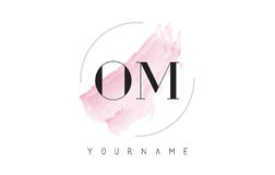 OM O M Watercolor Letter Logo Design with Circular Brush Pattern. OM O M Watercolor Letter Logo Design with Circular Shape and Pastel Pink Brush Royalty Free Stock Image