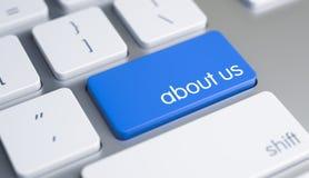Om oss - text på blått tangentbordtangentbord 3d Arkivbild