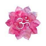 Om podpisuje wewnątrz lotosowego kwiatu Fotografia Stock