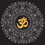 Om sacred symbol white mandala black background stock photos