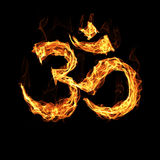Om sign by fire Stock Image