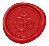 Om Sign Wax Seal. Om Sign Red Wax Seal stock illustration