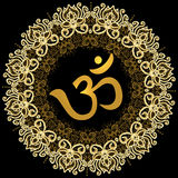 Om sing on a gold mandala background Stock Photography