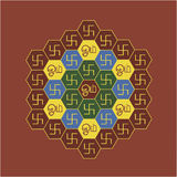 Om and Swastika Hexagonal chart Royalty Free Stock Photo