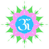 Om Symbol. The divine OM symbol on flower Stock Image