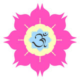 OM symbol. The divine OM symbol on lotus flower Royalty Free Stock Images