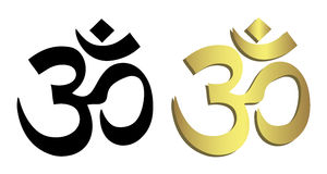 Om symbol in black and gold Royalty Free Stock Photography