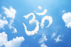 Om symbol clouds shaped Royalty Free Stock Image