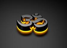 OM symbol med ljus shinning för gåta Fotografering för Bildbyråer