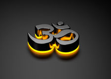 OM symbol brightened mystery light shinning Stock Image