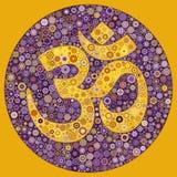OM Symbol Purple Yellow Mandala Mosaic in Circle stock illustration
