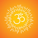 Om symbol vector icon & sunburst like rays emerging from the aum. Sign Stock Images