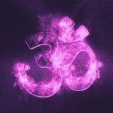 Om symbool Hindoese godsdienst De abstracte achtergrond van de nachthemel stock illustratie