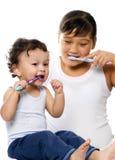 Om tanden schoon te maken. Stock Afbeelding