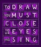 Om te trekken moet u uw ogen sluiten en zingen royalty-vrije illustratie