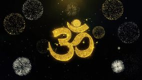 Om of van Aum Shiva Written Gold Particles Exploding Vuurwerkvertoning stock illustratie