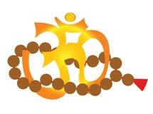 Om - yoga symbol and mala royalty free illustration