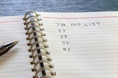 Om zich lijst, plan te doen en te organiseren Royalty-vrije Stock Afbeelding