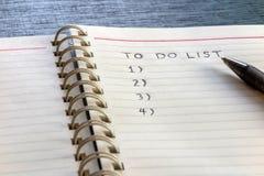 Om zich lijst, plan te doen en te organiseren Stock Afbeelding