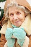 Oma, die heißen Tee trinkt Stockfotos