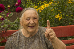 Oma 86 jaar, het glimlachen, portret Royalty-vrije Stock Fotografie