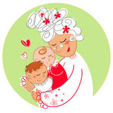 Oma met babytweelingen Stock Afbeelding