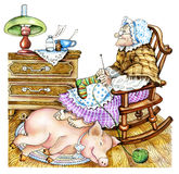 Oma met een varken Royalty-vrije Stock Foto's