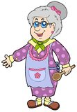 Oma met lepel Stock Fotografie