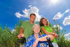 Oma met zoon en kleindochter Royalty-vrije Stock Foto