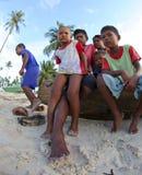 OMADAL海岛,沙巴,马来西亚- 3月03 :未认出的海欺骗 免版税库存照片
