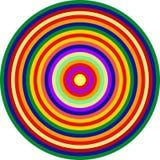 Omaggio di arte op ai cerchi concentrici multicolori di CT Fotografia Stock Libera da Diritti