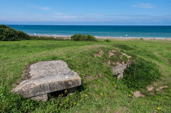 Omaha Beach. World War II bunker on the Omaha Beach in Normandy region in France Royalty Free Stock Images