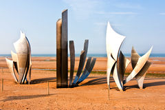 Omaha Beach. Les Braves sculpture on Omaha Beach in Normandy stock photos