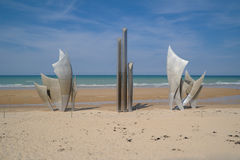 Omaha Beach Memorial Metal Monument Foto de archivo