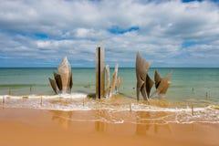 Omaha Beach Memorial Sculpture in Saint-Laurent-sur-Mer Normandy France stock photography