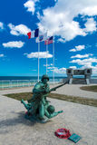 Omaha Beach Memorial with a statue stock images