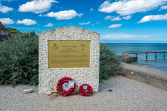 Omaha Beach monument to the Royal Air Force stock photography