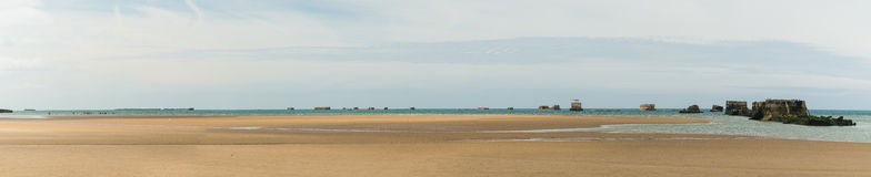 Omaha beach panorama. Omaha Beach with ruins of WW II in a sunny day - Normandy (France) 2012 stock images