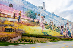 The Omaha Mural Project: Fertile Ground. This painting mural  tells the story of Omaha's past, present, and future by featuring historical references, present Royalty Free Stock Photos