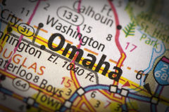 Omaha, Nebraska on map. Closeup of Omaha, Nebraska on a road map of the United States stock photo